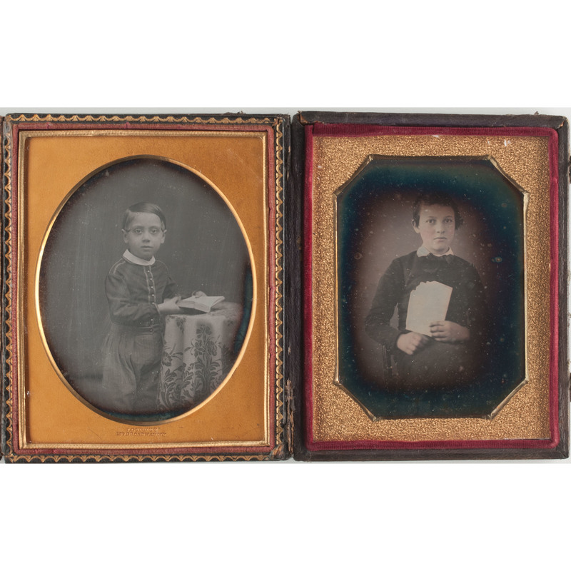 Quarter Plate Daguerreotypes of Young Boys with Books, Including One By J. Gurney