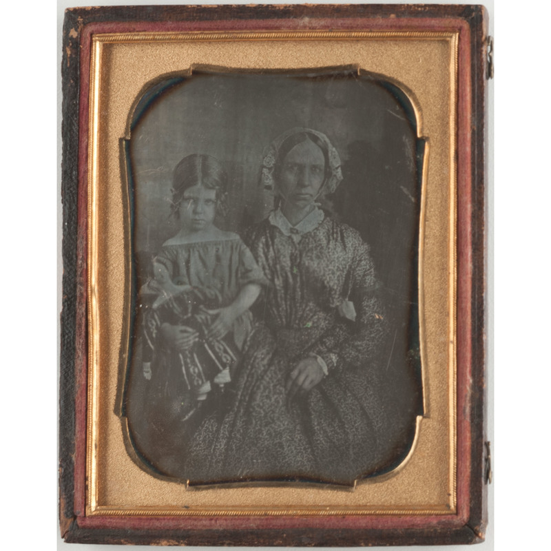 Quarter Plate Daguerreotype of a Mother and Young Girl with Her Doll