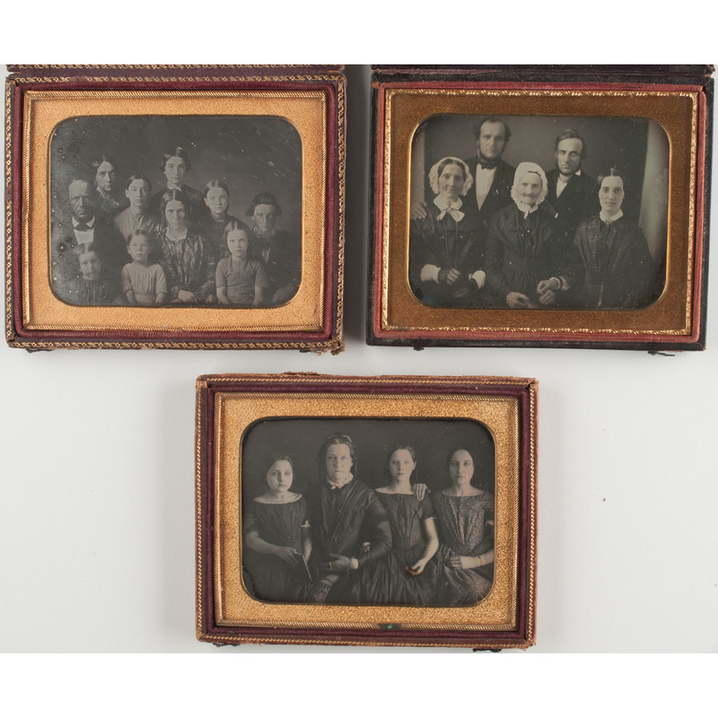 Three Quarter Plate Daguerreotype Portraits of Large Groups, Including a Family of Ten