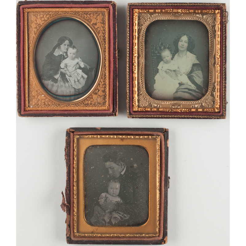 Three Daguerreotype Portraits of Affectionately Posed Parents and Babies
