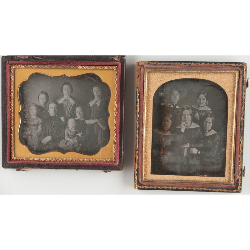 Two Sixth Plate Daguerreotypes of Large Groups of Sitters