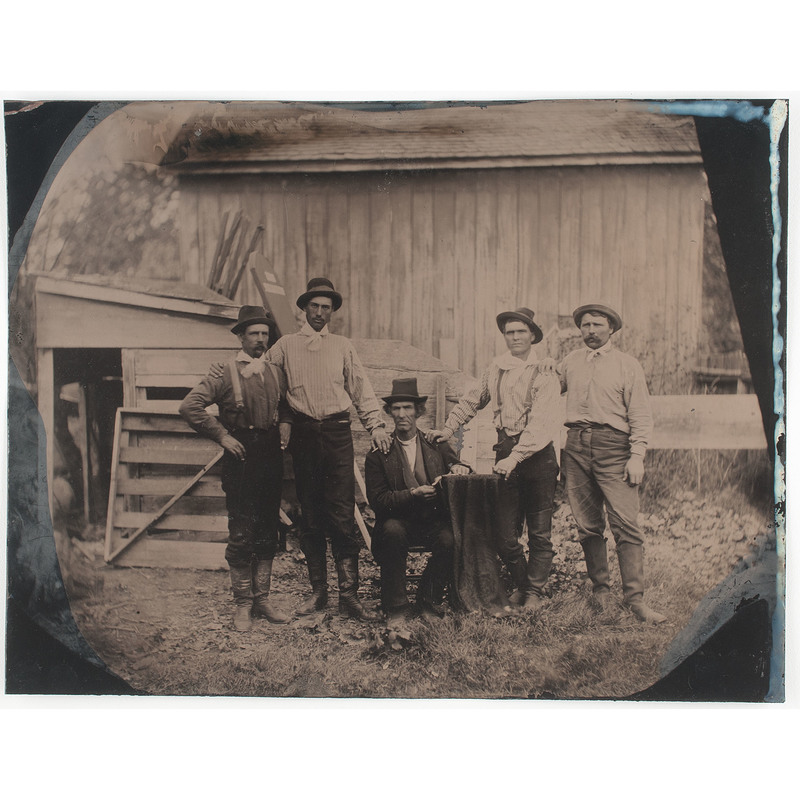 Pair of Full Plate, Outdoor Tintypes of Country Folk, Possibly Farmers, One Incl. Horse-Drawn Wagon