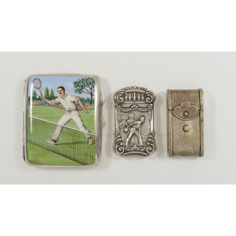 Sterling Match Safe and Cigarette Case, Plus
