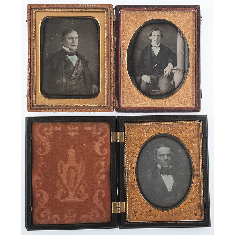 Quarter Plate Daguerreotype Portraits of Distinguished Gentlemen, Lot of 8