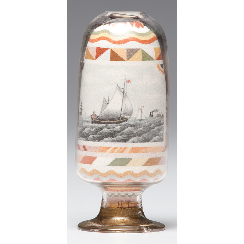 Fine Andrew Clemens Inverted Sand Bottle with Nautical Scene