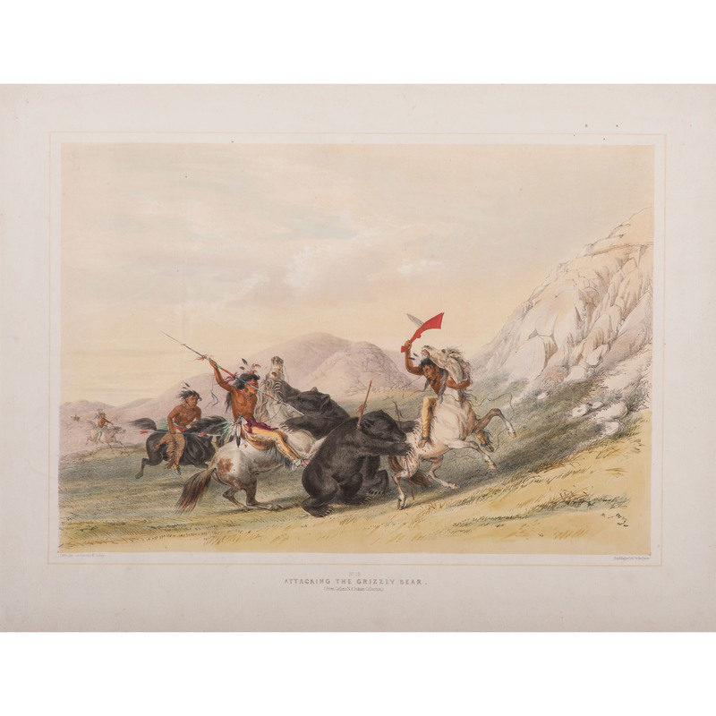 George Catlin (American, 1796-1872) Hand-Colored Lithograph on Paper