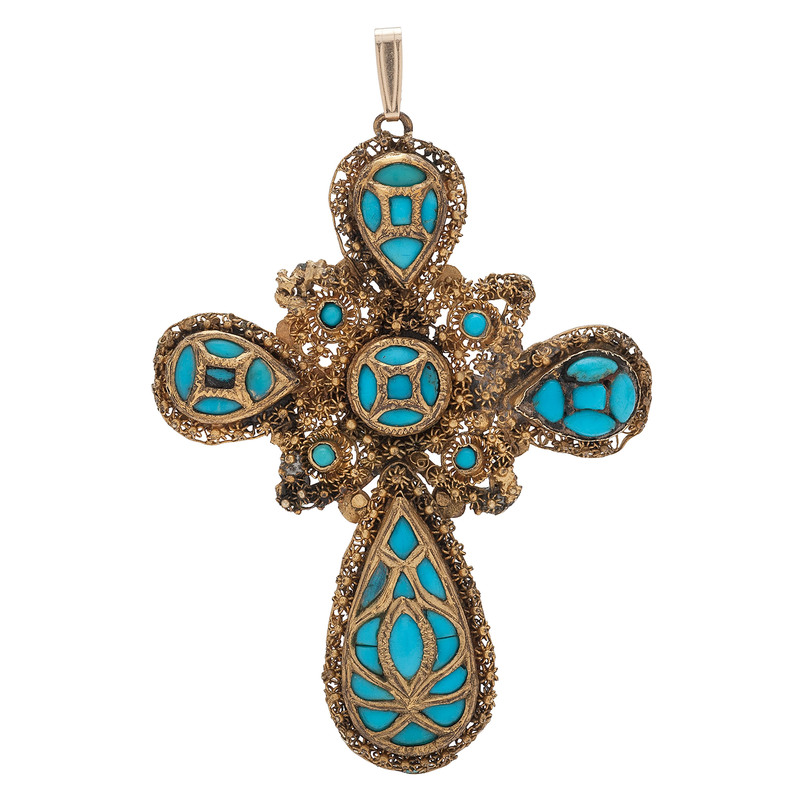 10 Karat Yellow Gold Victorian Turquoise Cross Pendant