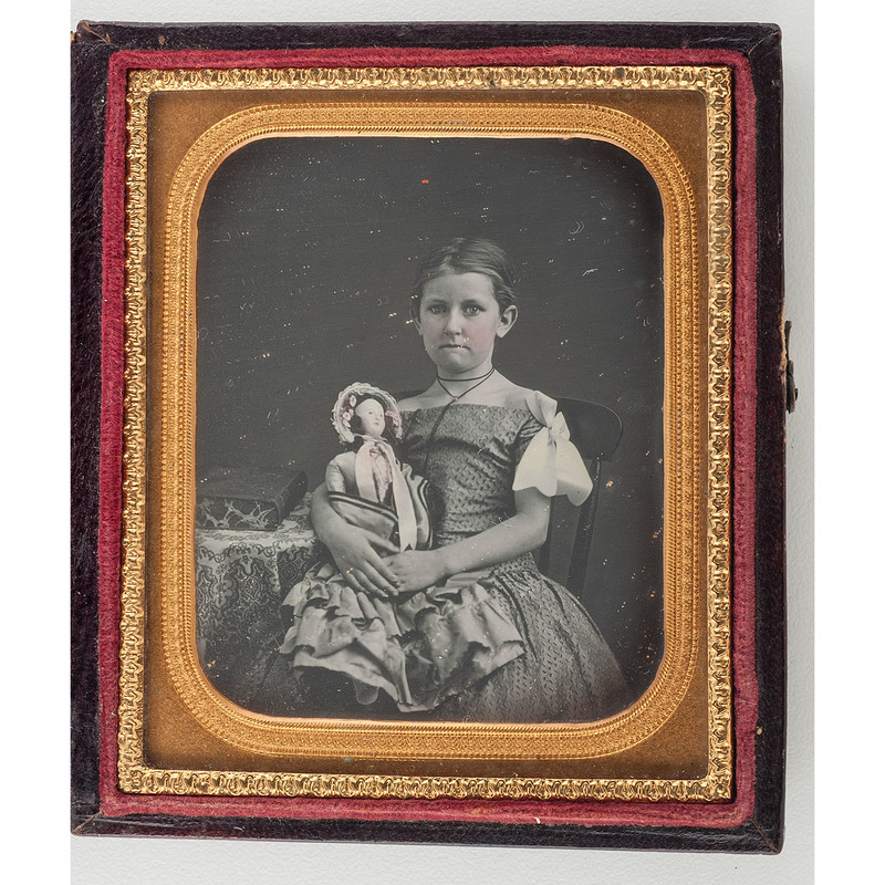 Charming Pristine Sixth Plate Daguerreotype of a Girl and Her Doll