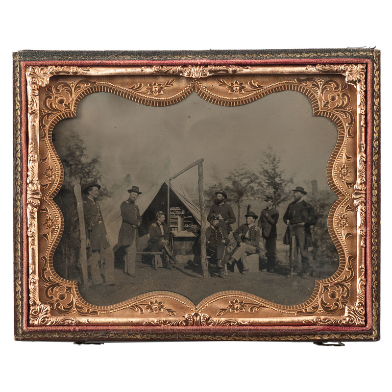 Officers of the 38th Indiana Volunteer Infantry, Spectacular Half Plate Outdoor Tintype