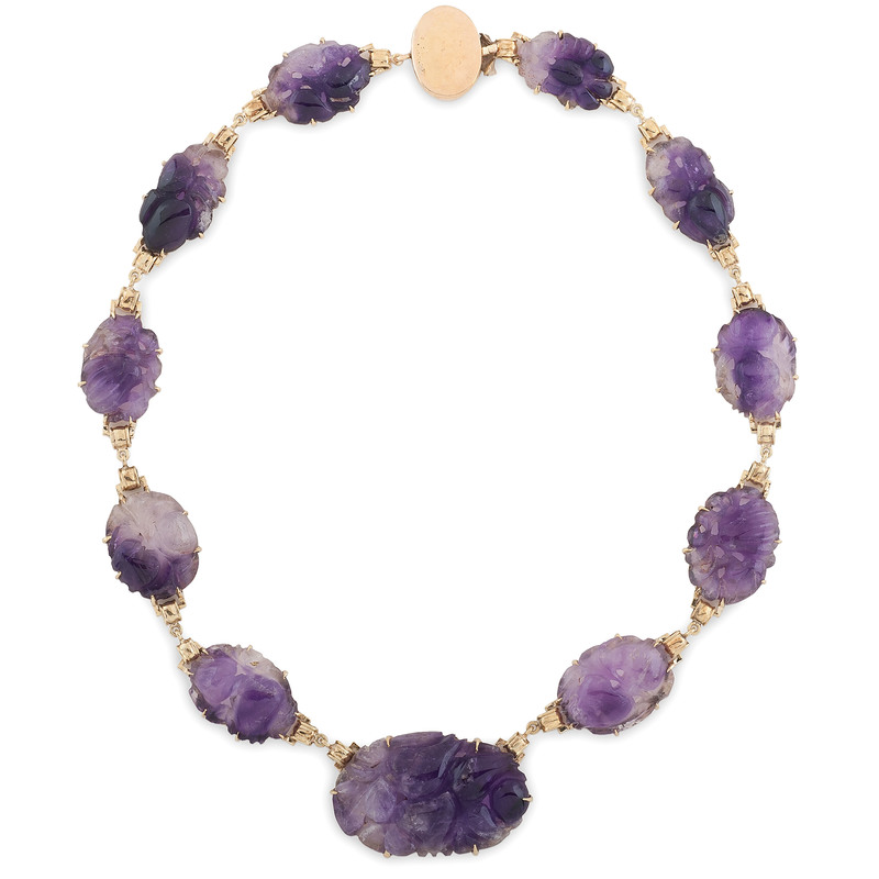 14 Karat Yellow Gold Floral Pattern Carved Amethyst Necklace