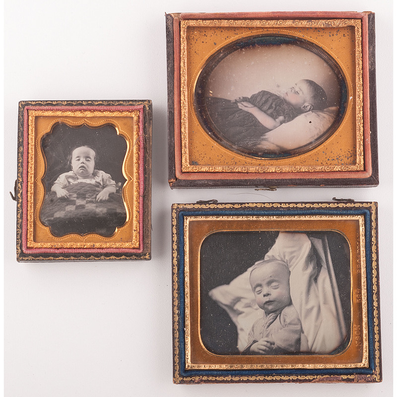 Postmortem Daguerreotypes of Infants, Group of Three Including One by Anson