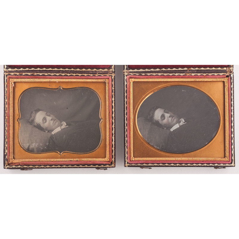 Pair of Postmortem Daguerreotypes of the Same Young Man, Including Possible Copy