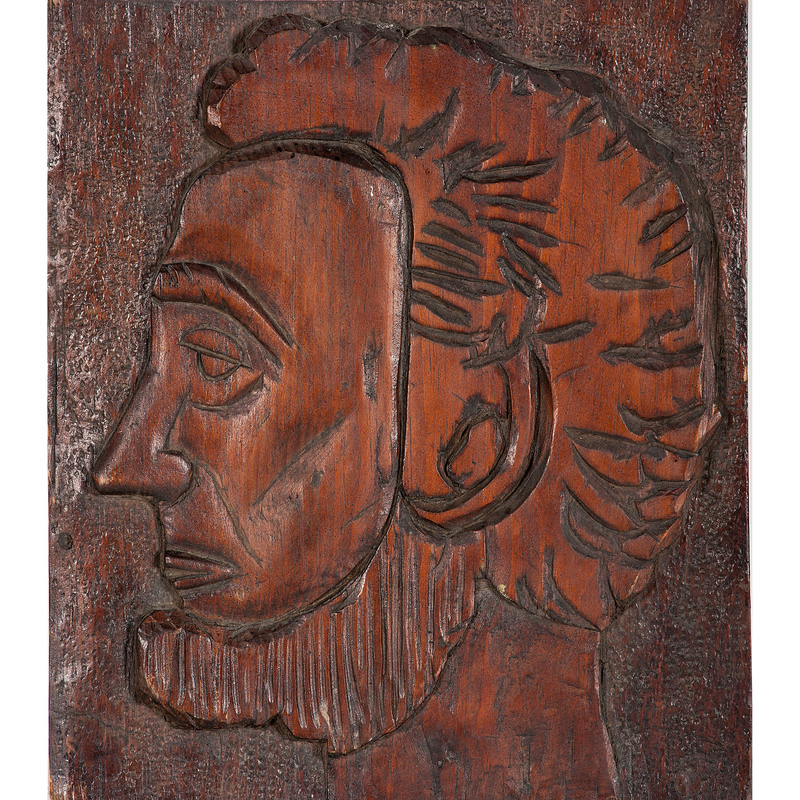Abraham Lincoln Carved Plaque, Signed