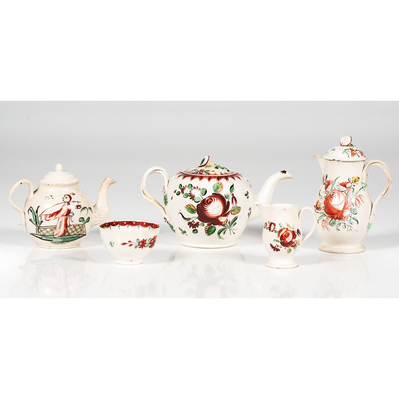 English Creamware Rose Teawares, Plus