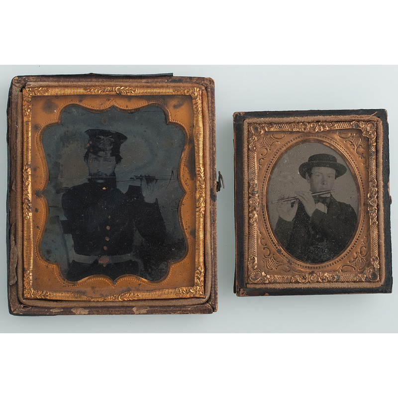 Lot of Two Ruby Ambrotypes Featuring Fifers