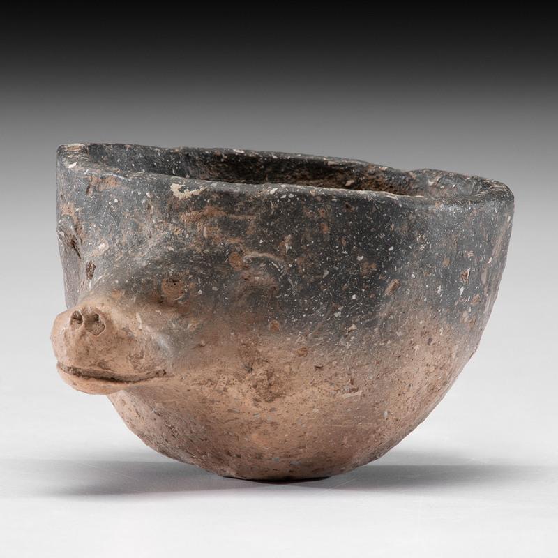 A Miniature Bear Effigy Pottery Bowl, 2 x 3-1/4 in.