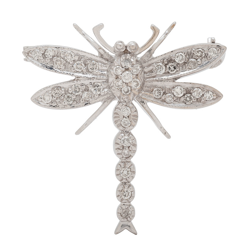 Dragonfly Brooch in 14 Karat White Gold