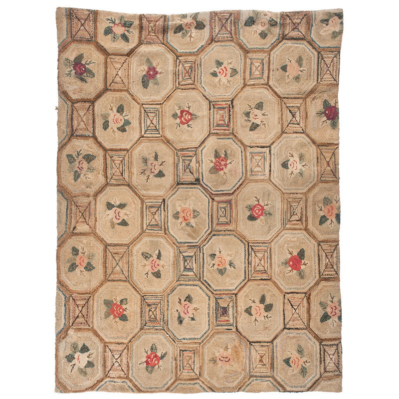 Floral and Geometric Hooked Rug