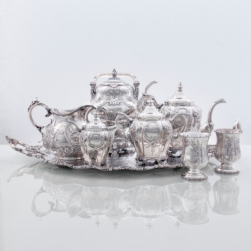 Silver Tea Service, Including Sterling Presentation Pitcher for Captain Williams Lansing of Buffalo, NY