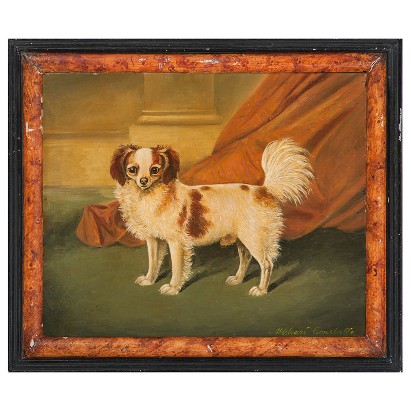 Michael Constable (American, 20th century), Portrait of a Blenheim King Charles Spaniel and Rowley, Spaniel in a Landscape