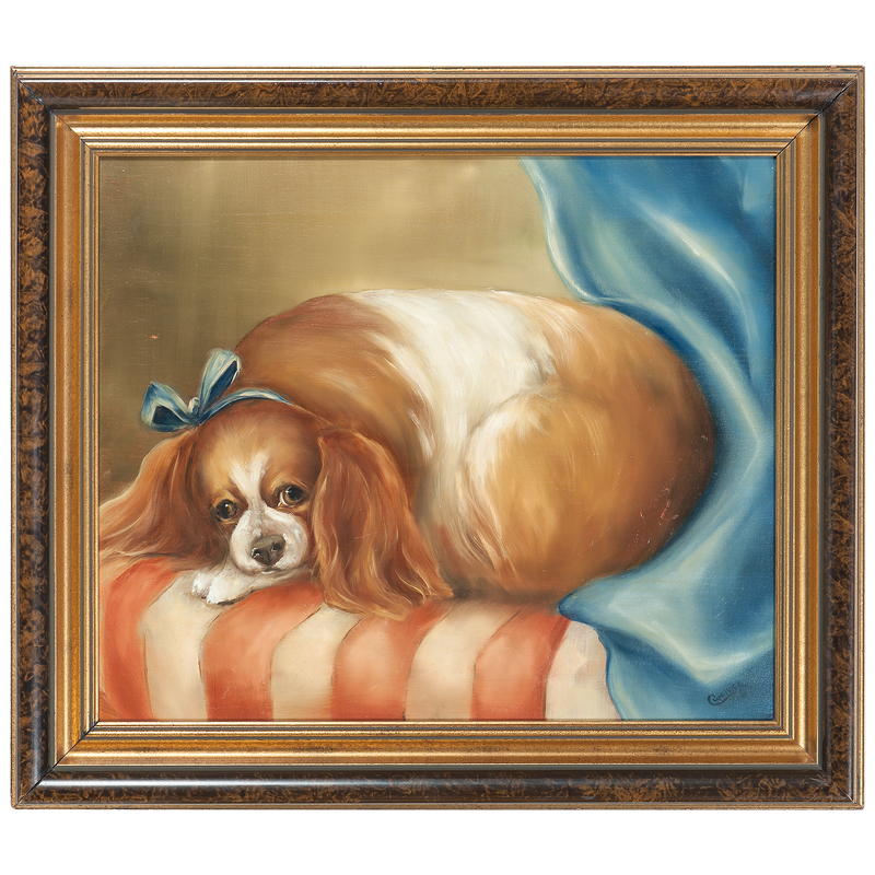 Spaniel on a Pillow, by C. W. Riker (20th century), in the Manner of Sir Edwin Landseer