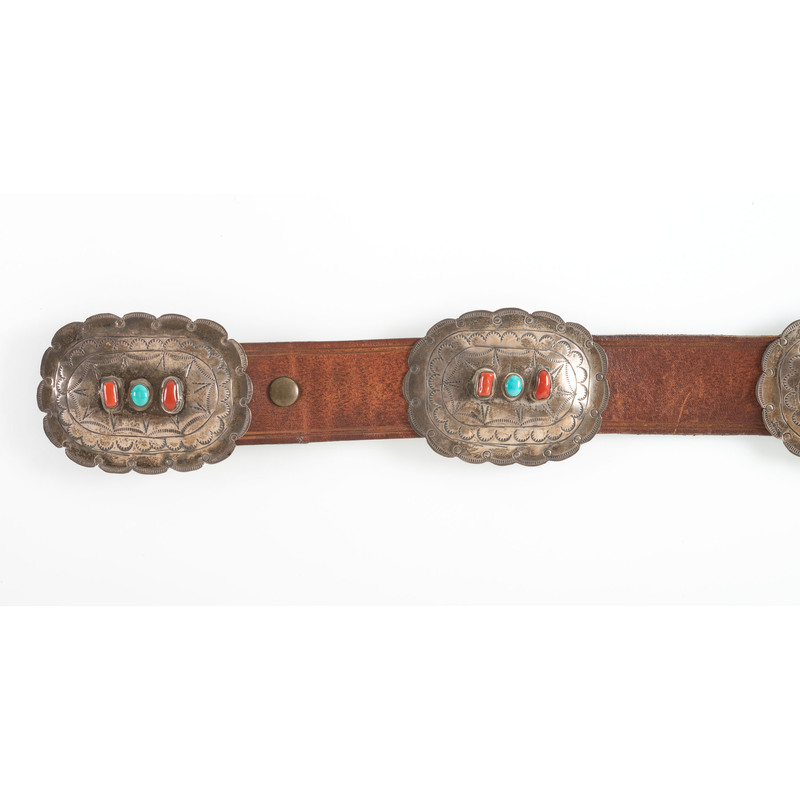 Navajo Turquoise and Coral Concha Belt