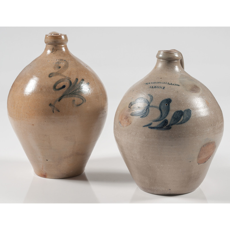 Tyler & Dillon and N Clark & Co. Two-Gallon Stoneware Jugs