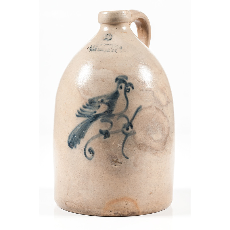 J. A. & C. Underwood Two-Gallon Jug with Bird Decoration