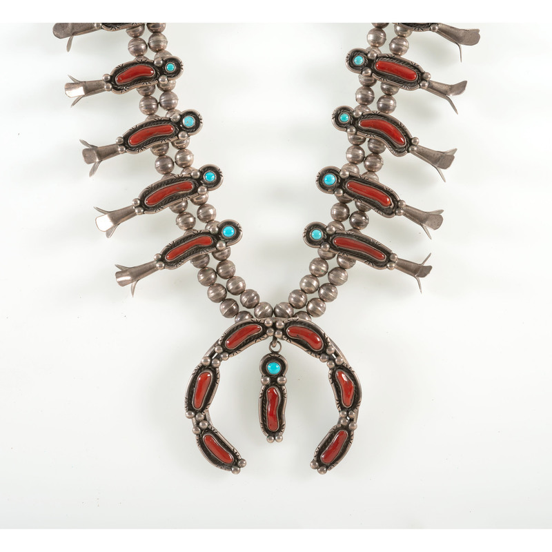 Navajo Silver, Turquoise, and Coral Squash Blossom Necklace