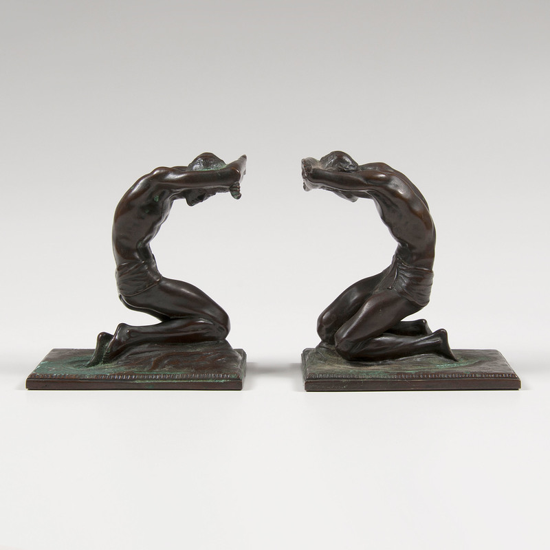 Isidore Konti (Hungarian, 1862-1938) Bronze Bookend Sculptures