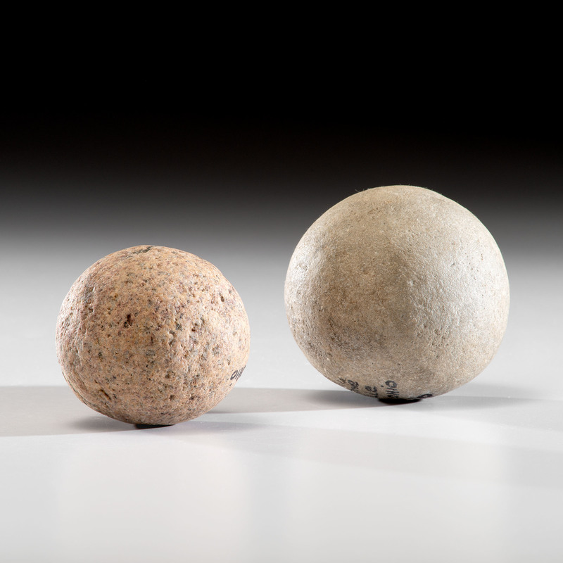 Two Large Game Balls From An Old Collection, Largest 4 in.