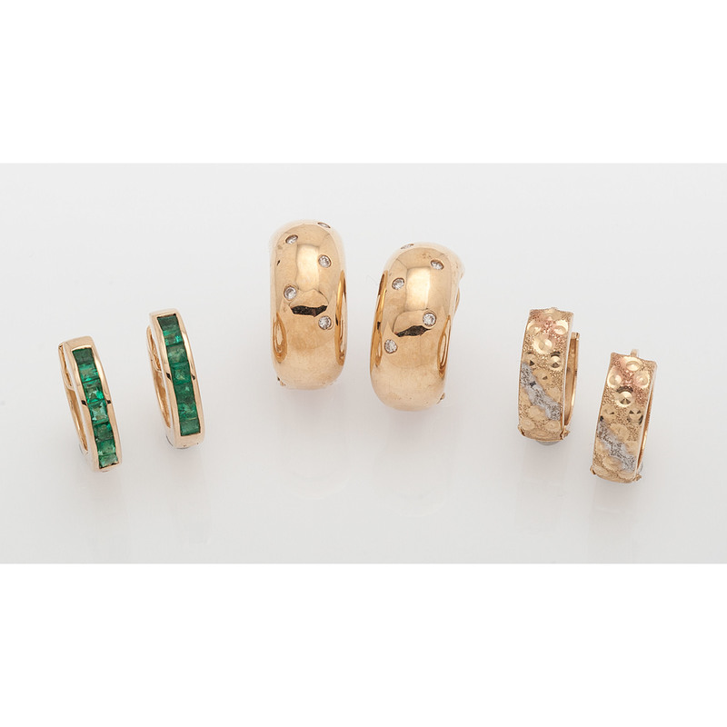 Karat Gold Gemstone Hoop Earrings, Lot of Three