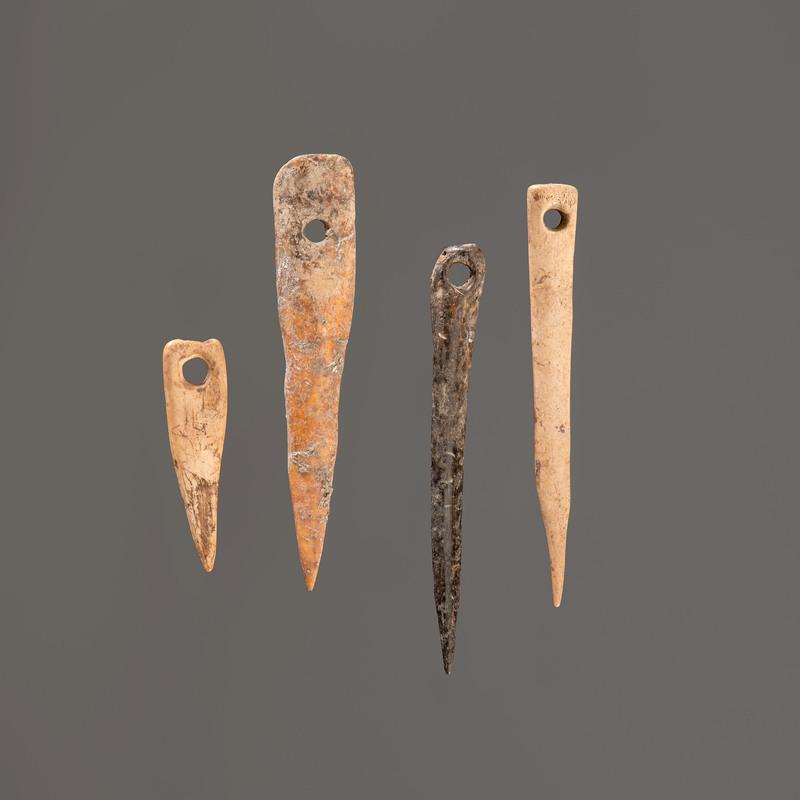Four Bone Needles, Longest 3-1/2 in.