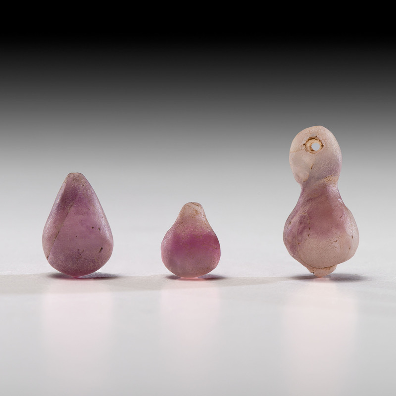 A Lavender Owl Effigy Fluorite Pendant AND Two Lavender Fluorite Ornaments, Longest 1-1/8 in.