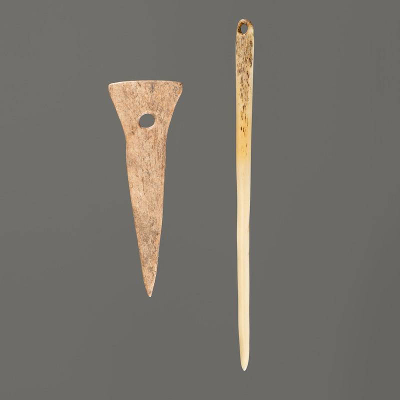 Two Bone Needles, Longest 5-1/2 in.