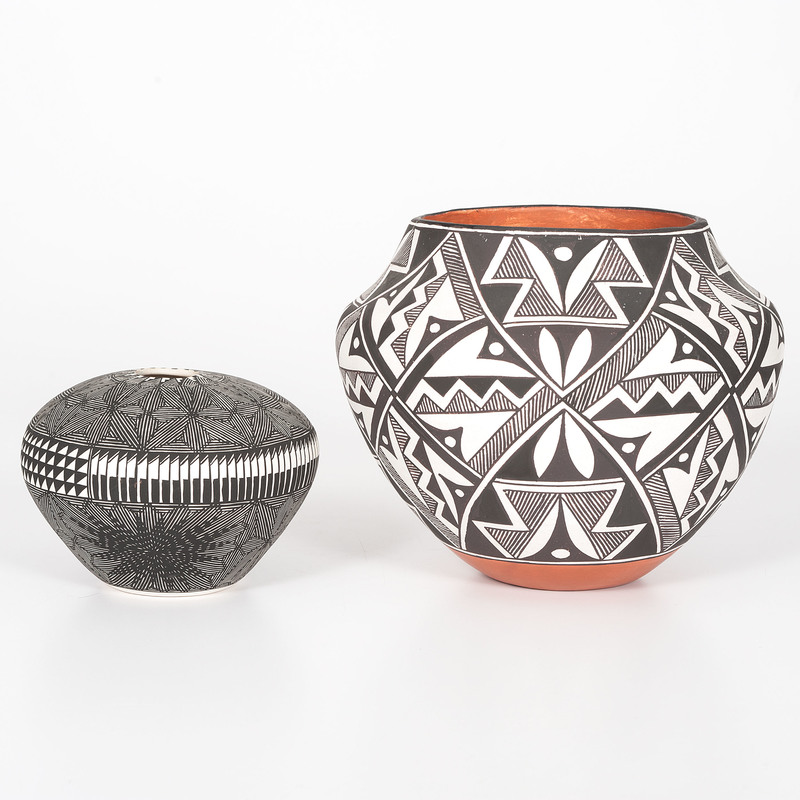 Kim Vallo (Acoma, b. 1968) and Mary Ann Hampton (Acoma, 1930-2018) Pottery Jars