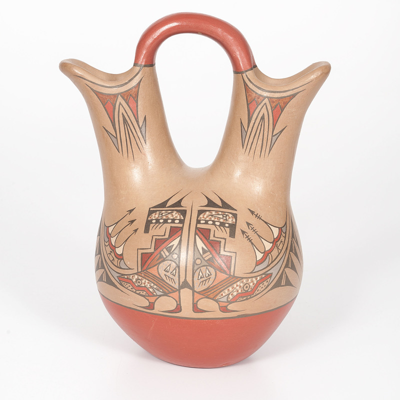 Lela and Van Gutierrez (Santa Clara, 1895-1966/ 1870-1956) Polychrome Pottery Wedding Vase, From the Collection of Charles McNutt, Sr.