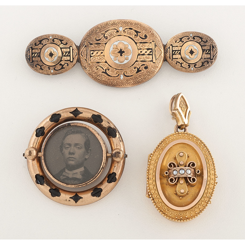 Gold Filled Victorian Mourning Jewelry, Lot of Three