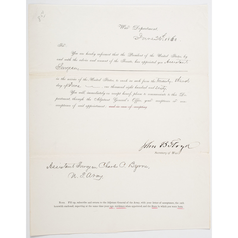 Appointment of Charles C. Byrne as Assistant Surgeon, 1860