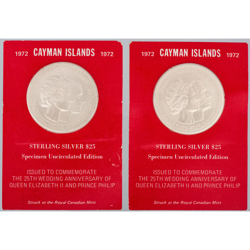 Cayman Islands 25 Dollars Commemoratives, Lot of Two