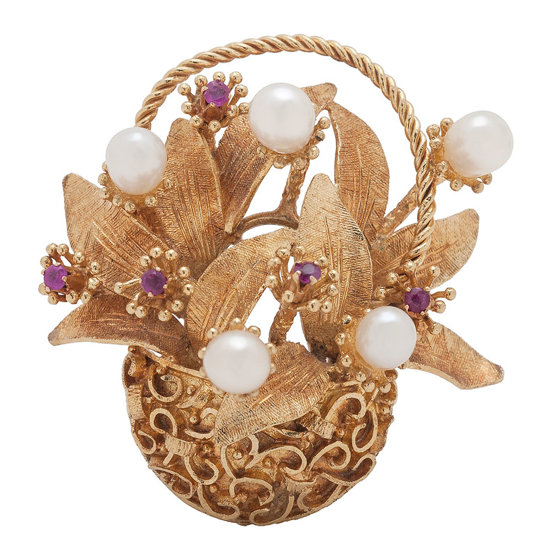 18 Karat Yellow Gold Ruby and Pearl Brooch