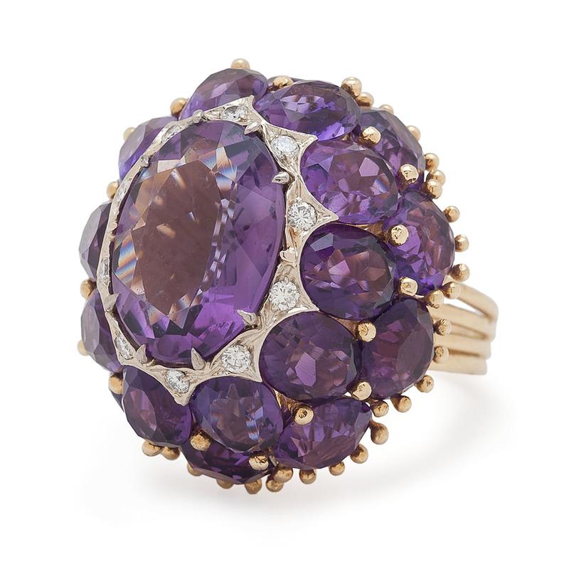 Toliro 18 Karat Gold Amethyst and Diamond Ring