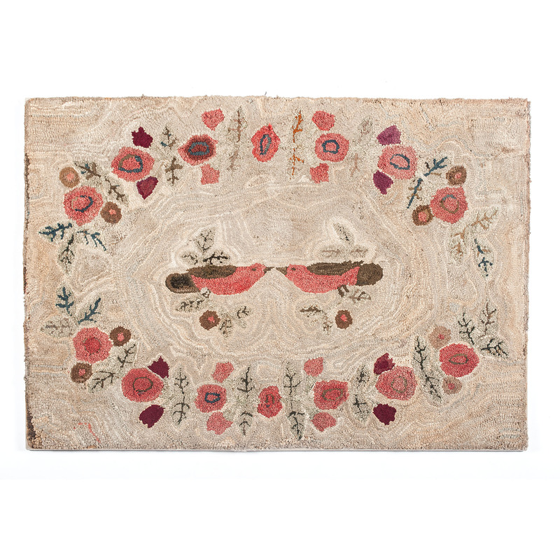 Hooked Rug with Lovebirds
