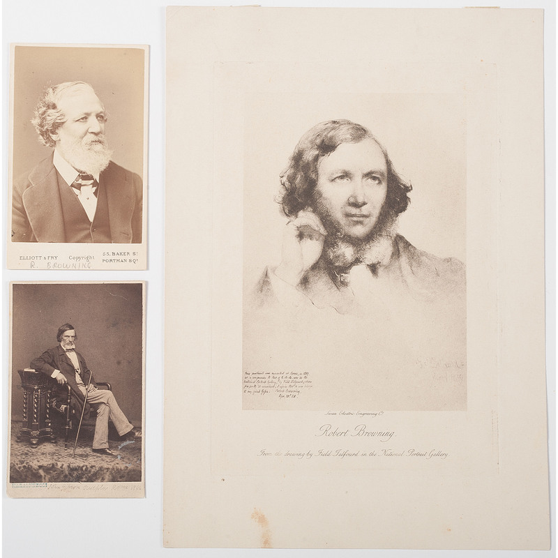 R. Browning Images, Incl. Example by Elliott & Fry Plus CDV of John Gibson with Browning's Handwriting