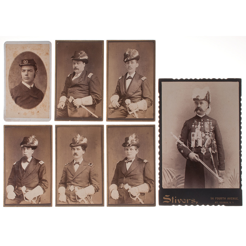 Photographs of Men in Fraternal Organizations, Lot of 7