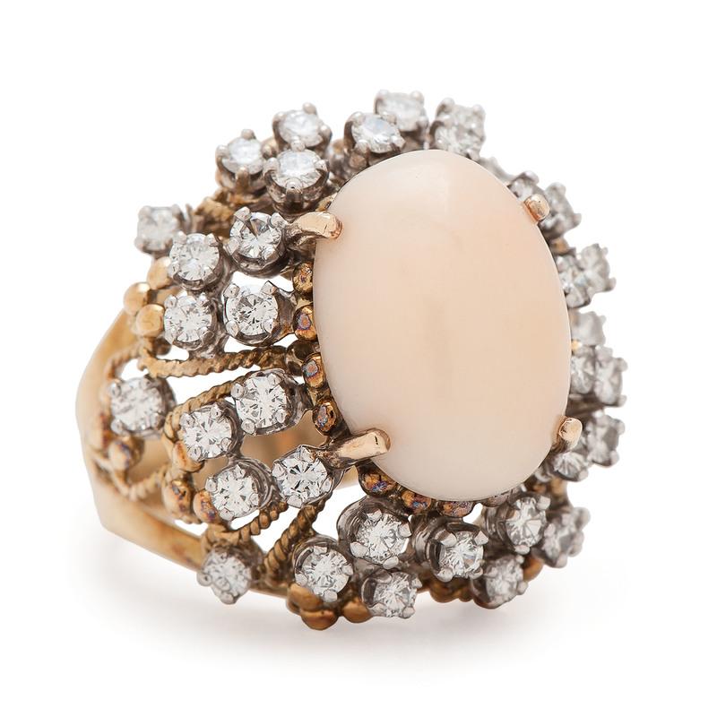 Jack Gutschneider 18 Karat Yellow Gold Coral and Diamond Ring
