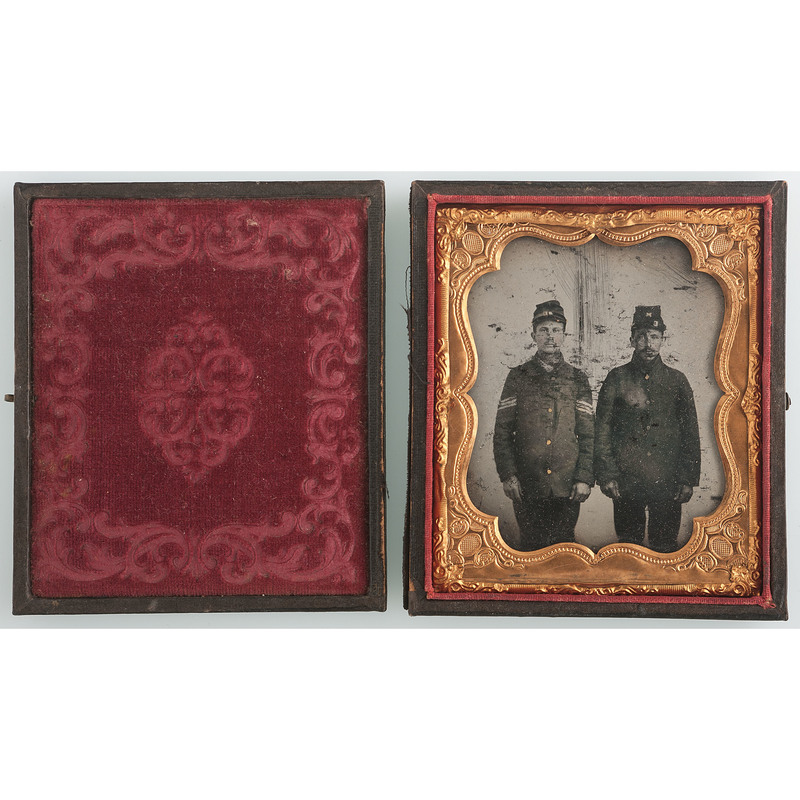 Sixth Plate Ambrotype of Two Union Soldiers