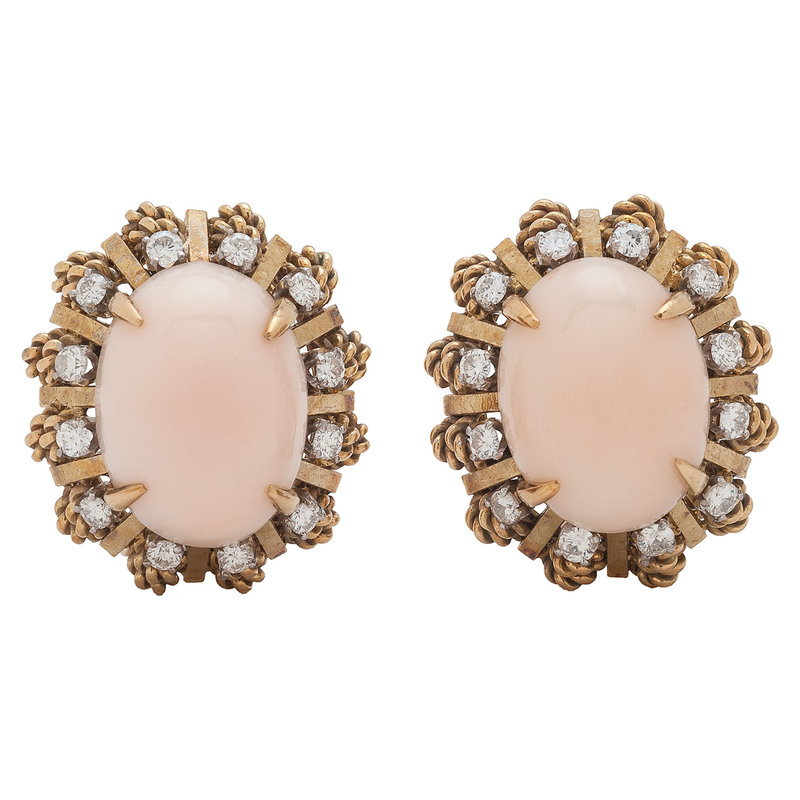 Jack Gutschneider 18 Karat Gold Coral and Diamond Earrings