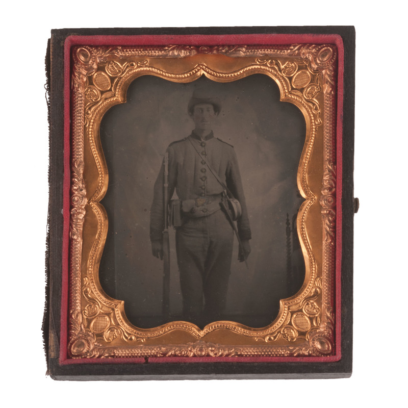Sixth Plate Tintype of a Confederate Infantryman
