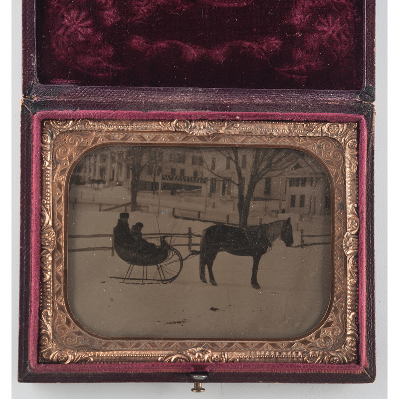Quarter Plate Ambrotype Horse and Buggy Snow Scene